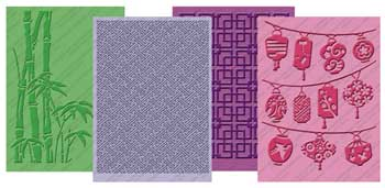 Cuttlebug 174 Oriental Weave Embossing Folder Set 4pk From