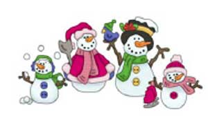 Cottage Impressions Snowman Family Cling Mounted Rubber