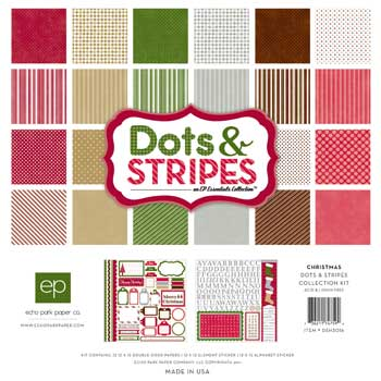 Christmas Dots and Stripes 12x12 Paper & Accessories Kit 26pk from Echo Park Paper ~ Save 15%