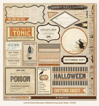 Lost And Found Halloween 12x12 Glittered Accessory Sheet