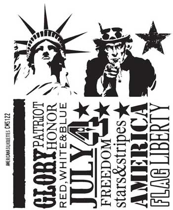 Americana Silhouettes Tim Holtz Collection Cling Mounted Rubber Stamp Set from Stampers Anonymous ~